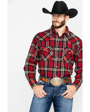 Ely Cattleman Men's 8.5 oz Brawny Flannel Long Sleeve Western Shirt , Red, hi-res