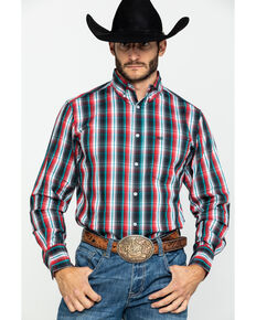 Wrangler 20X Men's Performance Multi Plaid Long Sleeve Western Shirt , Black/red, hi-res