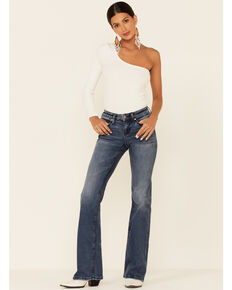 Shyanne Women's Seamed Pocket Bootcut Jeans, Medium Blue, hi-res