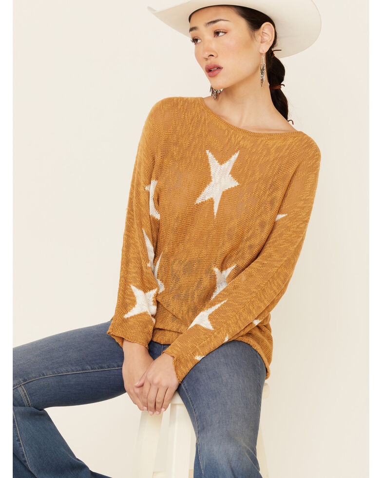 Wishlist Women's Mustard Star Print Pullover Sweater , Dark Yellow, hi-res