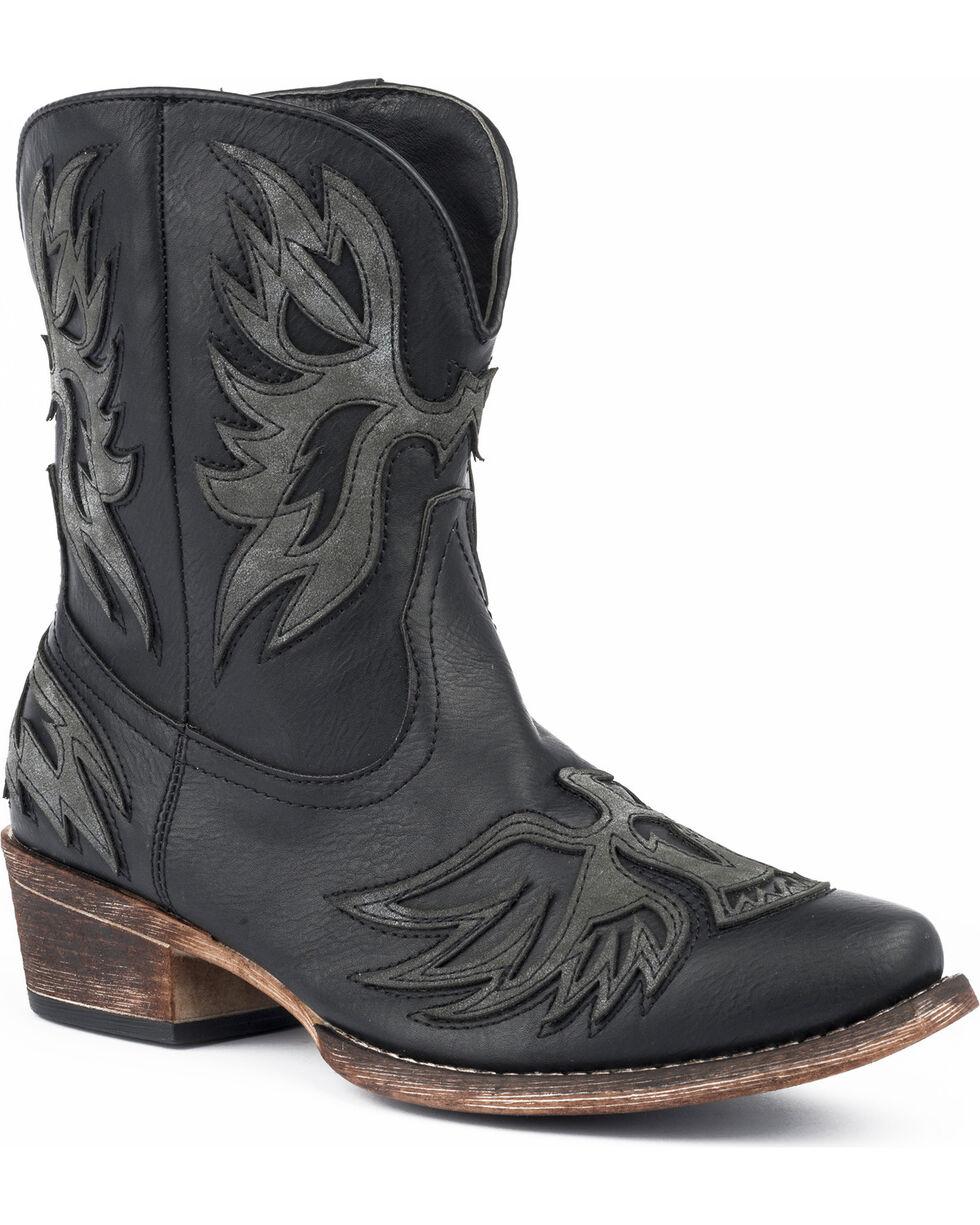 Roper Women's Amelia Eagle Overlay Western Boots - Snip Toe, Black, hi-res