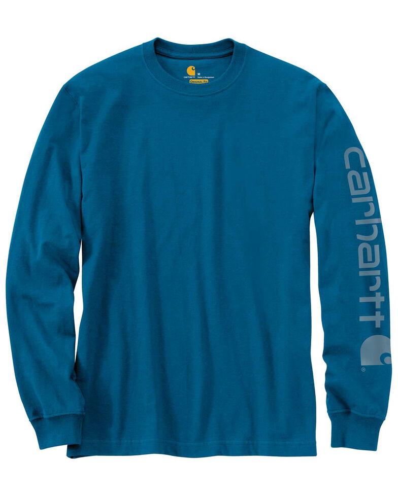 Carhartt Men's Signature Logo Sleeve Knit Work T-Shirt - Big & Tall, Heather Blue, hi-res
