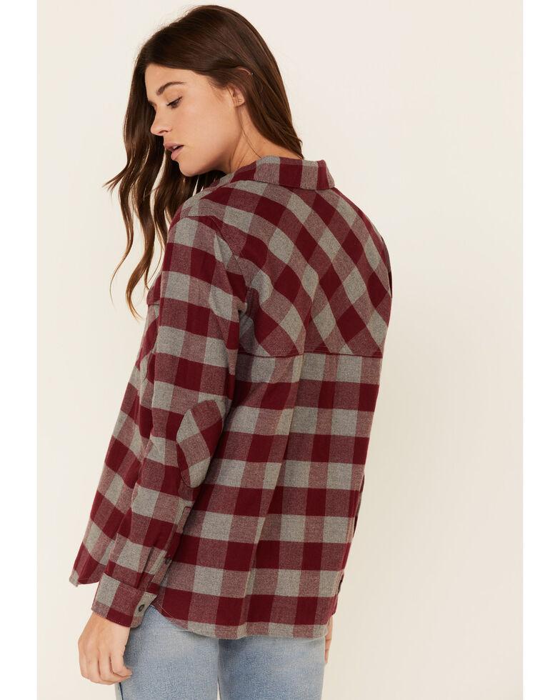 Pendleton Women's Wine Plaid Elbow Patch Long Sleeve Western Flannel Shirt , Wine, hi-res