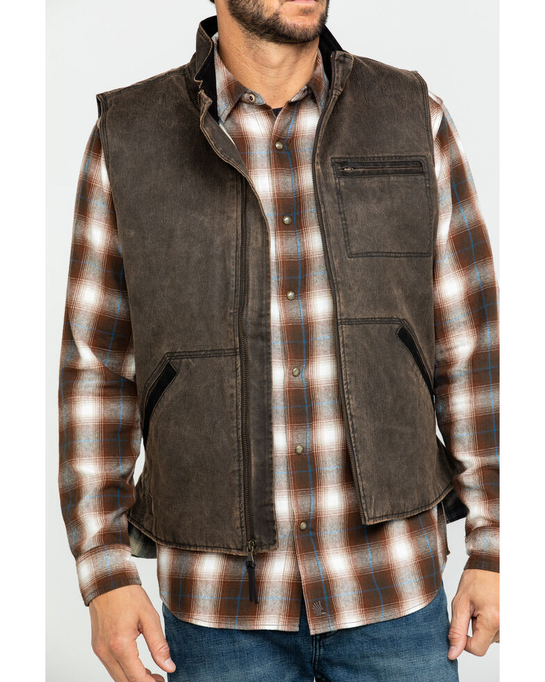 Cody James Men's Dusty 3.0 Oil Coated Zip-Up Vest , Brown, hi-res