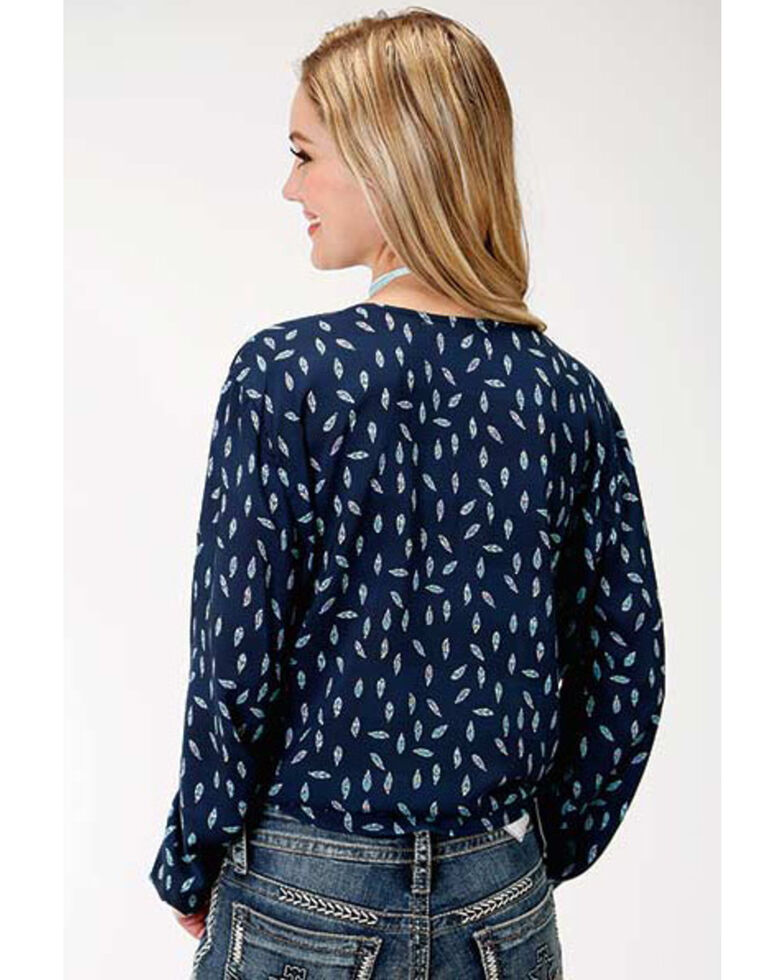 Roper Women's Feather Print Tie-Up Blouse, Blue, hi-res