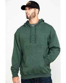 Ariat Men's Dark Forest Heather Fleece Branded Hooded Sweatshirt , Heather Grey, hi-res