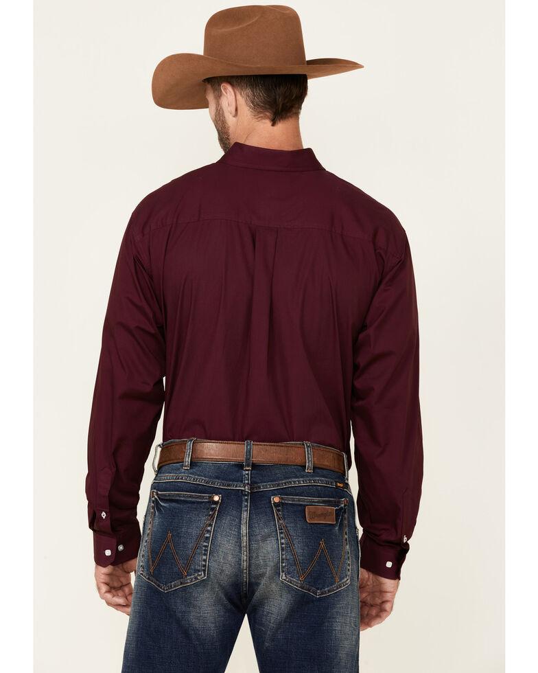 Cinch Men's Solid Burgundy Button Long Sleeve Western Shirt, Burgundy, hi-res
