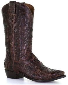Corral Men's Brown Exotic Alligator Inlay Western Boots - Wide Square Toe, Brown, hi-res