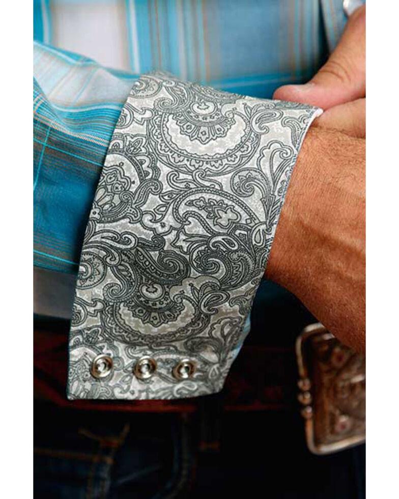 Stetson Men's Teal Plaid Long Sleeve Western Shirt , Blue, hi-res