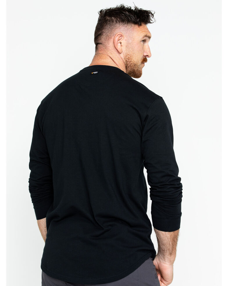 Hawx Men's Logo Crew Long Sleeve Work T-Shirt , Black, hi-res