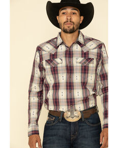 Cody James Men's Las Cruces Large Plaid Long Sleeve Western Shirt - Tall , Maroon, hi-res
