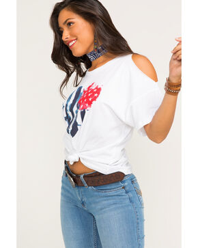 IOC Women's Americana Heart Cold Shoulder Tee, White, hi-res