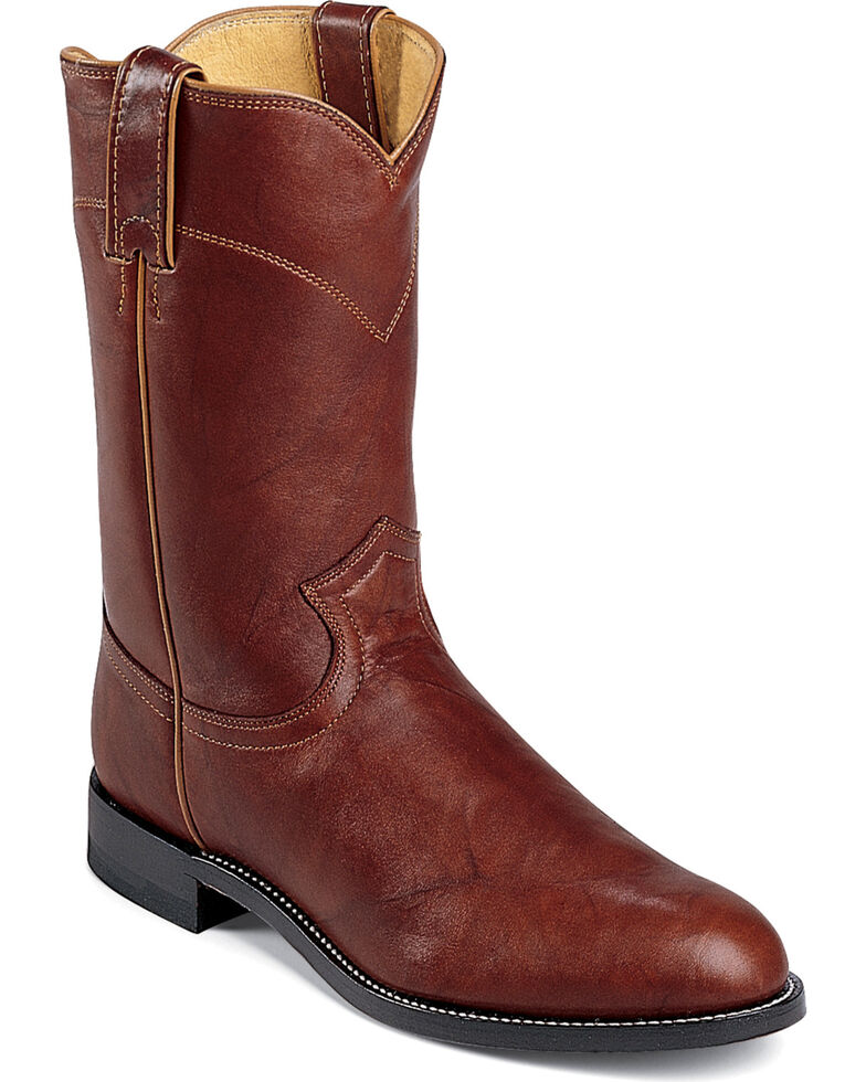 Justin Classics Deerlite Roper Cowboy Boots - Round Toe, Chestnut, hi-res