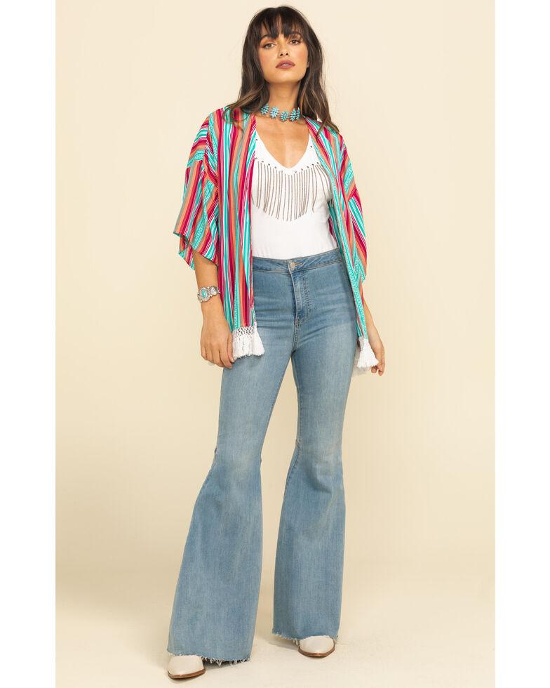 Rock & Roll Cowgirl Women's Multi-Color Stripe Kimono, Multi, hi-res