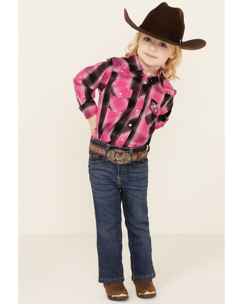Cowgirl Hardware Toddler Girls' Pink Ombre Plaid Long Sleeve Snap Western Shirt , Pink, hi-res
