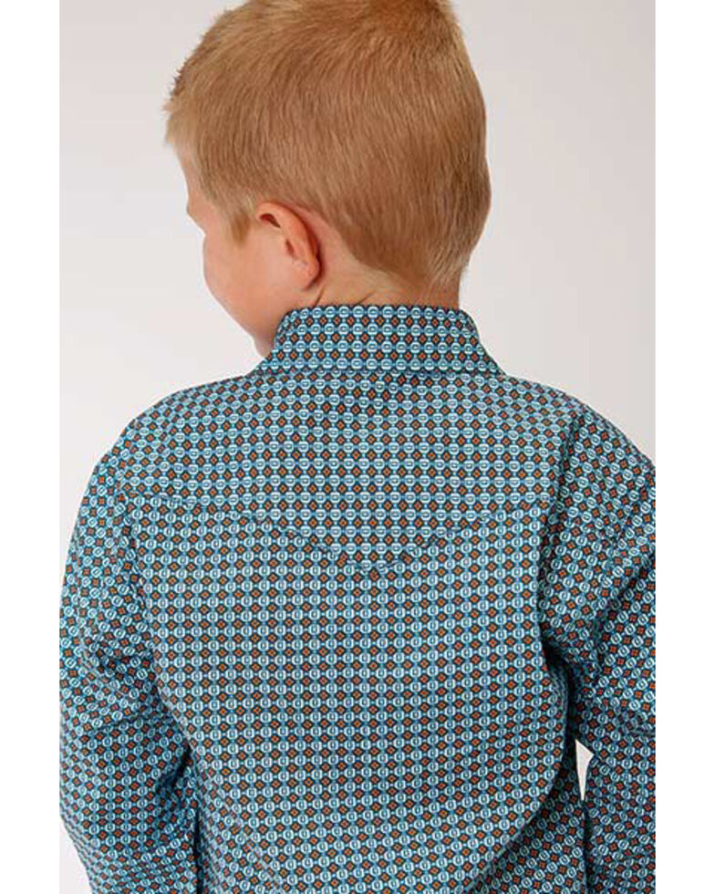 West Made Boys' Central Geo Print Long Sleeve Western Shirt , Turquoise, hi-res