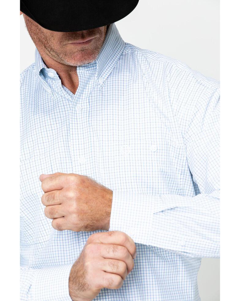 George Strait by Wrangler Men's Plaid Long Sleeve Western Shirt , Blue/white, hi-res