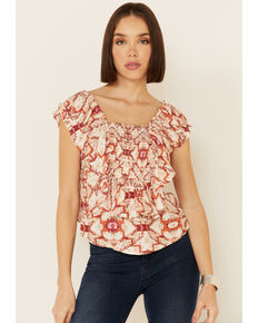 Shyanne Women's Blush Tile Print Ruffle Sleeve Short Sleeve Top, Blush, hi-res