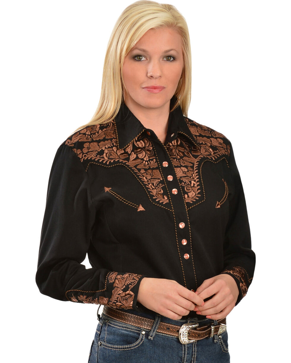 Scully Women's Floral Embroidered Western Shirt, Black, hi-res