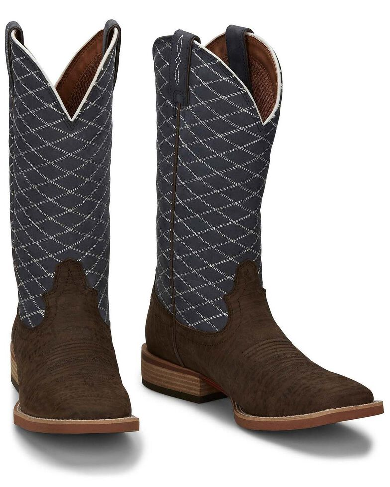 Justin Men's Cattler Chocolate Western Boots - Wide Square Toe, Chocolate, hi-res
