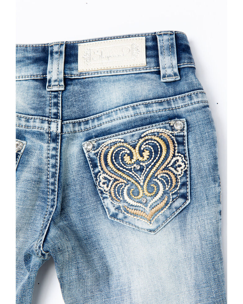 Shyanne Girls' Heart Scroll Stitch Embroidered Boot Jeans , Blue, hi-res