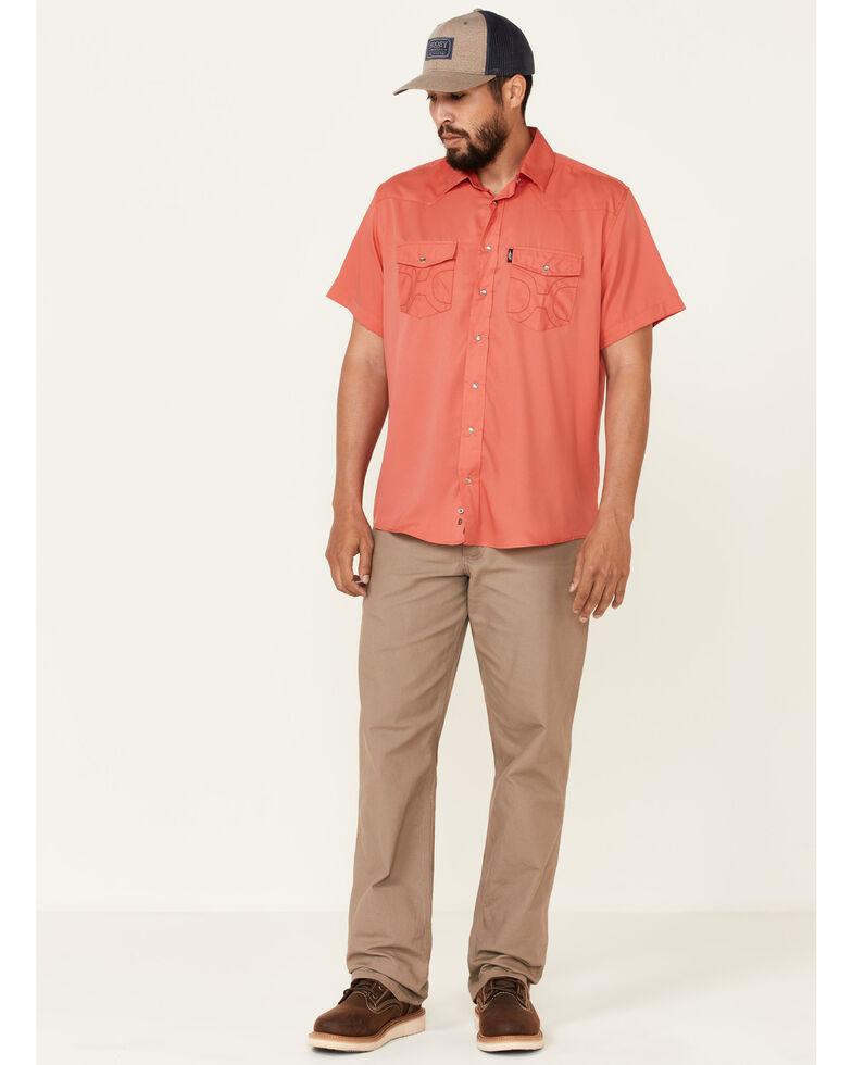 HOOey Men's Solid Watermelon Habitat Sol Short Sleeve Snap Western Shirt , Pink, hi-res