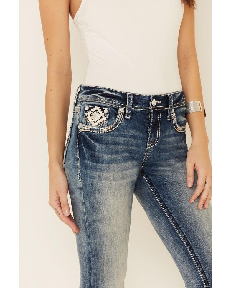Grace in LA Women's Diamond Border Bootcut Jeans, Blue, hi-res