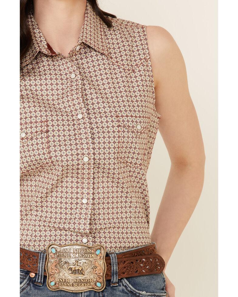 Rough Stock By Panhandle Women's Tile Geo Print Sleevelees Snap Western Core Shirt , Tan, hi-res