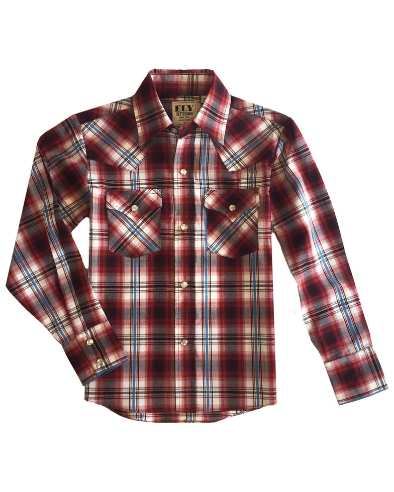 Ely Walker Boys' Rust Copper Plaid Long Sleeve Western Shirt , Rust Copper, hi-res