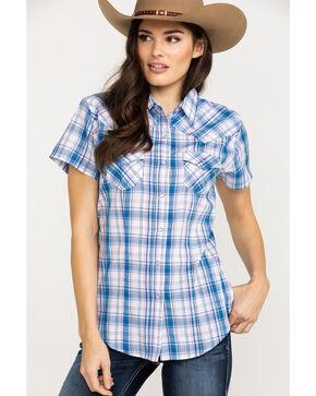Cumberland Outfitters Women's Blue Plaid Snap Short Sleeve Shirt , Blue, hi-res