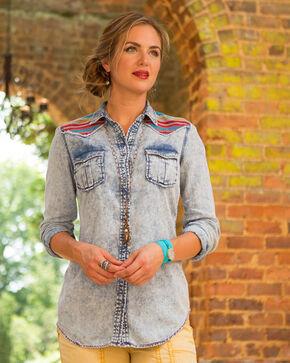 Ryan Michael Women's Serape Embroidered Top , Indigo, hi-res