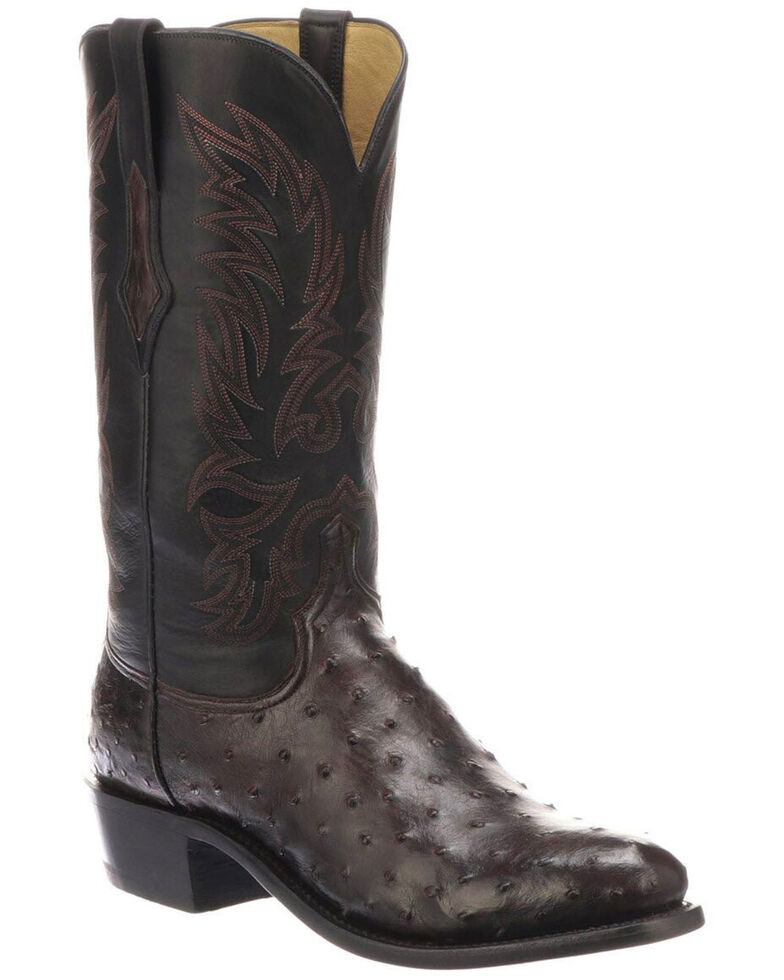 Lucchese Men's Elgin Exotic Western Boots - Round Toe, Black, hi-res