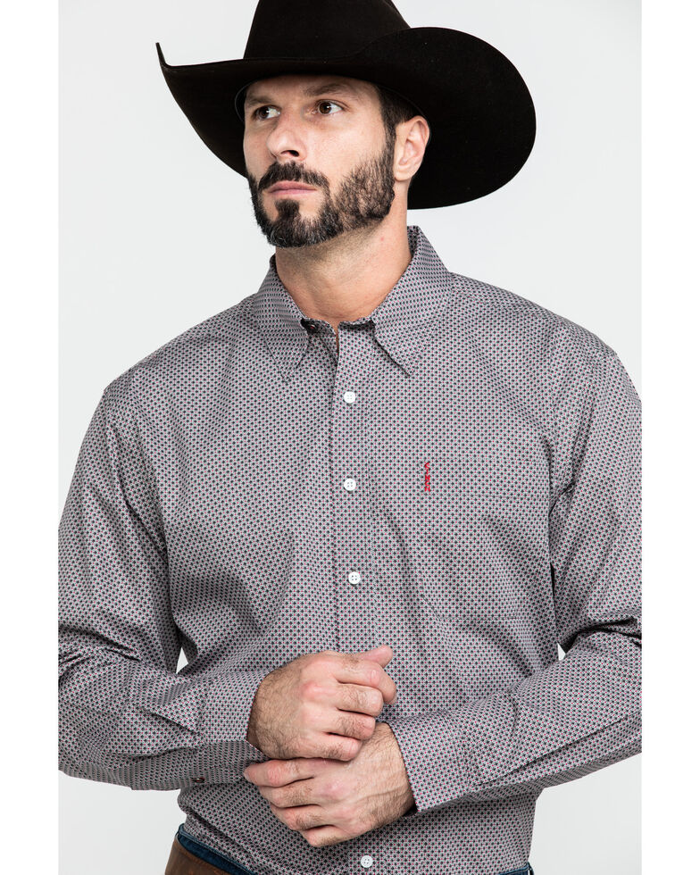 Cinch Men's Grey Modern Geo Print Long Sleeve Western Shirt , Grey, hi-res