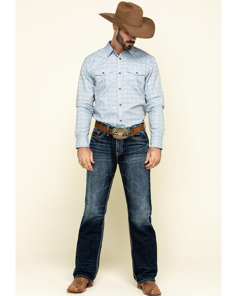 Cody James Men's Trucker Small Plaid Long Sleeve Western Shirt , Light Blue, hi-res
