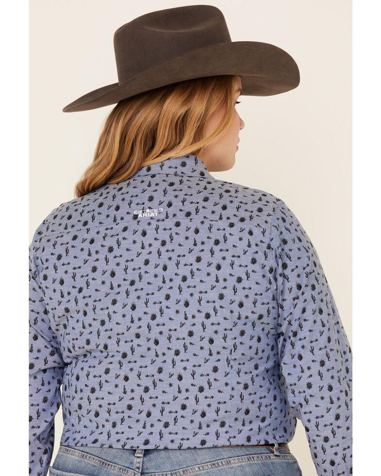 Ariat Women's Wrinkle Resist Desert Spring Kirby Long Sleeve Western Shirt - Plus, Indigo, hi-res