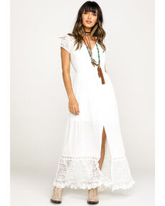 Band of Gypsies Women's White Bermuda Button Down Maxi Dress, White, hi-res
