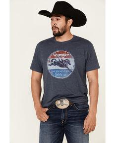 Wrangler Men's Navy Heather Cowboy Up Graphic Short Sleeve T-Shirt , Navy, hi-res
