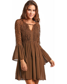 b9a13c59ff Rock & Roll Cowgirl Women's 2-Tiered Lace Overlay Dress