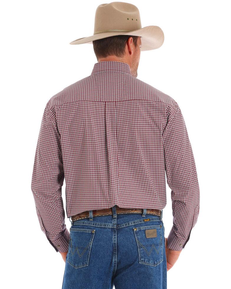George Strait By Wrangler Men's Wine Small Plaid Long Sleeve Western Shirt , Wine, hi-res