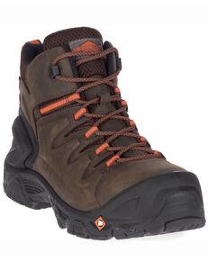 Merrell Men's Strongfield Waterproof Work Boots - Composite Toe, Dark Brown, hi-res