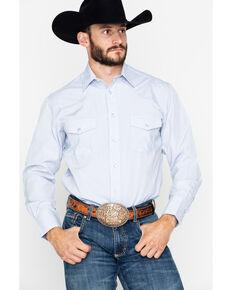 Roper Men's Tone On Tone Geo Print Long Sleeve Shirt , Blue, hi-res