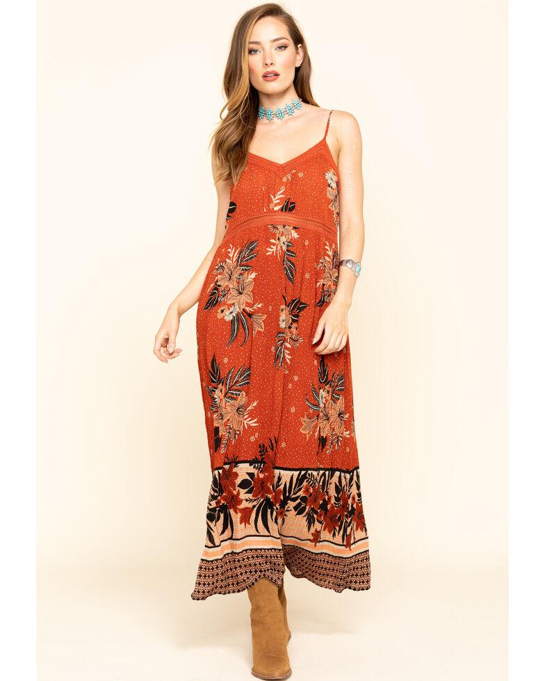 Patron of Peace Women's Rust Floral Border Sleeveless Maxi Dress, Rust Copper, hi-res