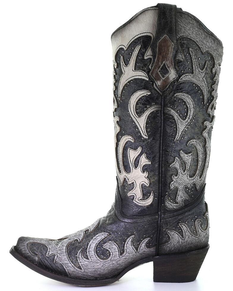 Corral Women's Grey Fur Overlay Western Boots - Snip Toe, Black, hi-res