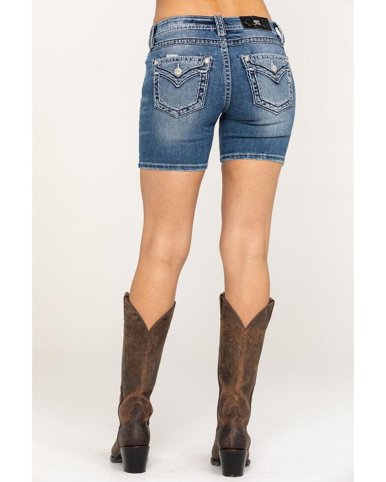 Miss Me Women's Medium Basic Flap Shorts, Blue, hi-res