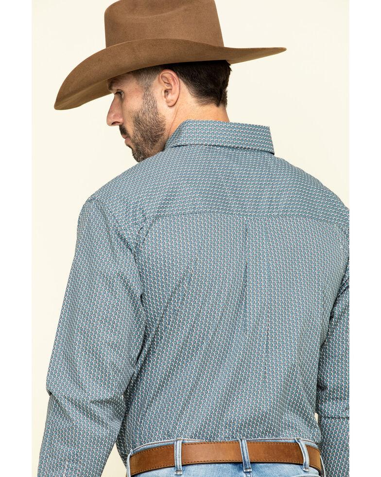 Wrangler Men's Classic Teal Geo Print Button Long Sleeve Western Shirt - Big , Teal, hi-res