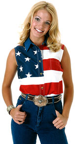 Roper Women's Sleeveless American Flag Western Shirt - Plus, Patriotic, hi-res