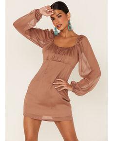 Sadie & Sage Women's Ruched Long Sleeve Dress, Lt Brown, hi-res