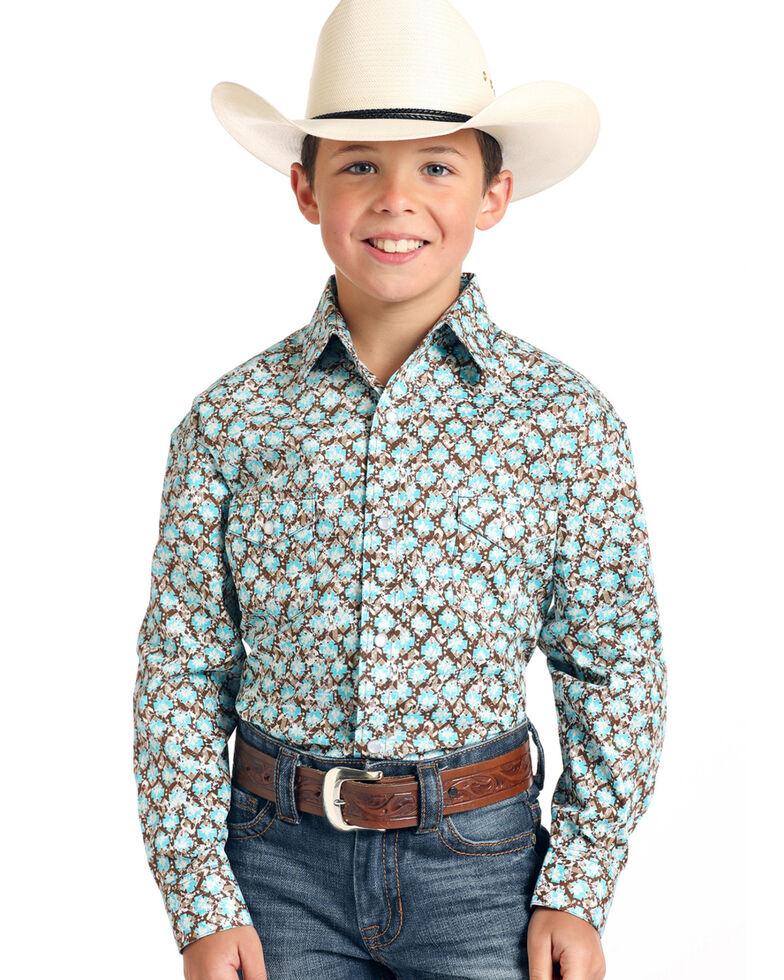 Rough Stock By Panhandle Boys' Bern Antique Geo Print Long Sleeve Western Shirt , Brown, hi-res