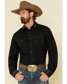 Rock 47 By Wrangler Men's Black Embroidered Solid Long Sleeve Western Shirt , Black, hi-res