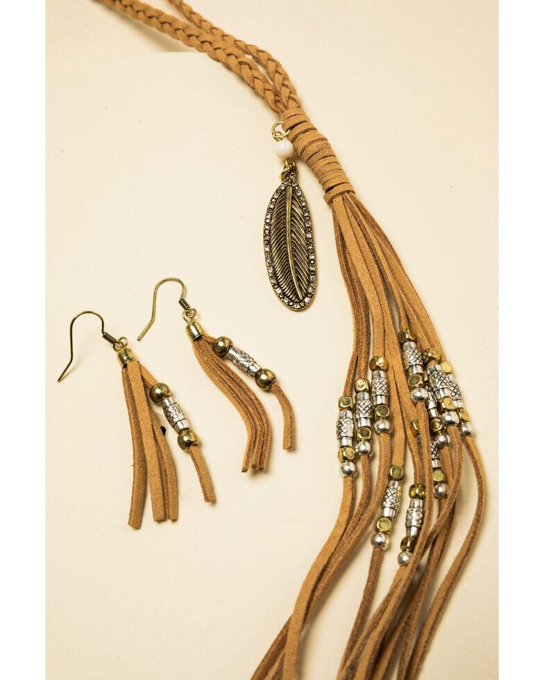 Shyanne Women's Crescent Sunset Beaded Leather Tassel Set, Bronze, hi-res